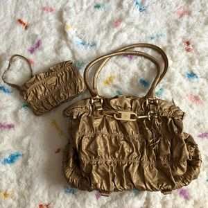 JM Collection Gold Bag With Matching Pouch
